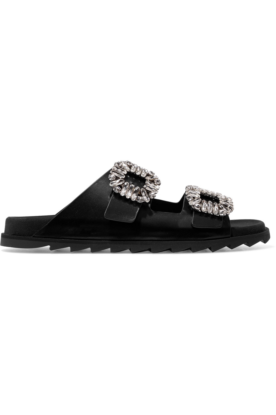 Roger Vivier Slidy Viv crystal-embellished leather slides