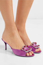 Sin Crown Jewels crystal-embellished satin mules