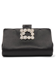 Roger Vivier Crystal-embellished satin clutch