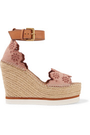Leather and embroidered suede espadrille wedge sandals
