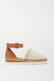 Leather and canvas platform espadrilles