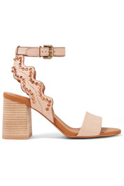 Crystal-embellished scalloped leather sandals
