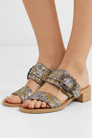 Crystal-embellished glittered leather sandals