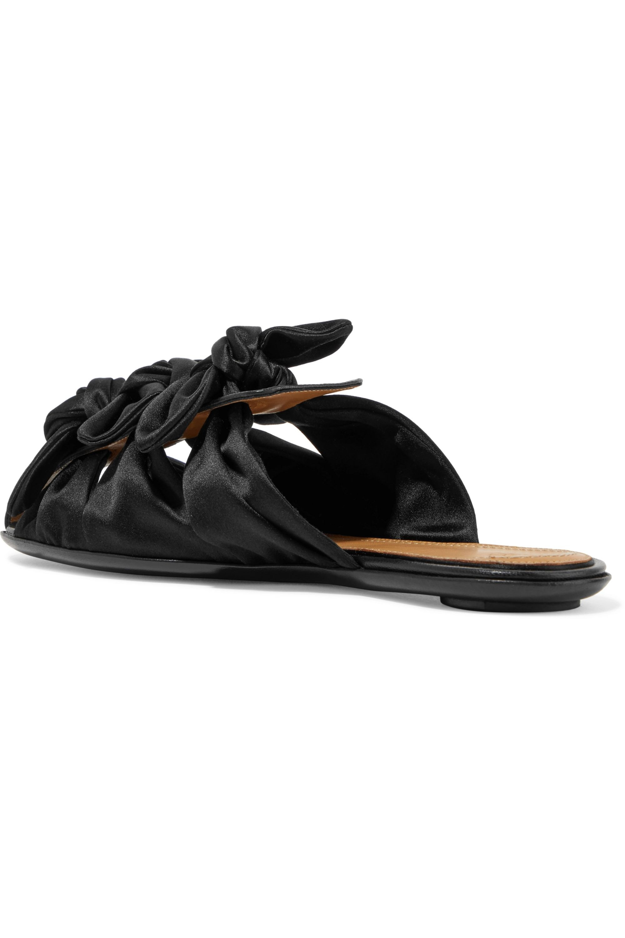 The Row Capri bow-embellished satin and leather slippers