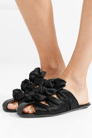 Capri bow-embellished satin and leather slippers