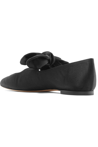 Elodie Bow-embellished Satin Ballet Flats - Black The Row CTAzfcY3K