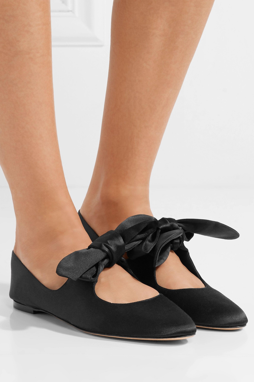 Black Elodie bow-embellished satin