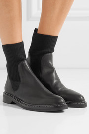 Fara ribbed cashmere-paneled leather Chelsea boots