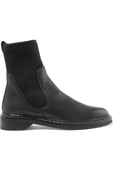 The Row. Fara ribbed cashmere-paneled leather Chelsea boots 272165e9eba