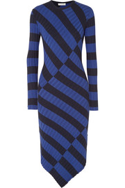 Altuzarra Whistler asymmetric striped ribbed-knit dress