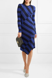 Whistler asymmetric striped ribbed-knit dress