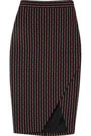 Wilcox wrap-effect pinstriped cotton-blend midi skirt