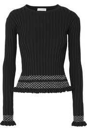 Altuzarra Malou embroidered ribbed-knit top