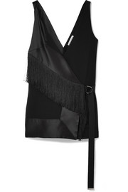 Altuzarra Cheyanne fringed crepe and silk-blend satin top