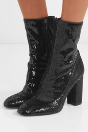 Calexa sequined stretch-twill sock boots