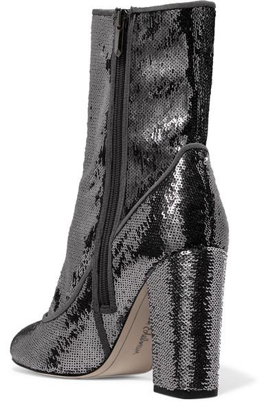 Sam Edelman Calexa Sock Boots aus paillettenverziertem Stretch-Twill