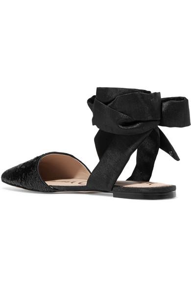 Sam Edelman Brandie flache Schuhe aus paillettenverziertem Canvas mit spitzer Kappe