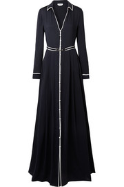 Lempicka pleated silk-twill maxi dress