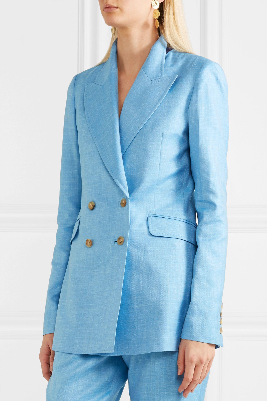 Gabriela Hearst Angela double-breasted wool, silk and linen-blend blazer