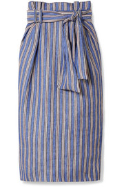 Jordon belted pinstriped linen midi skirt