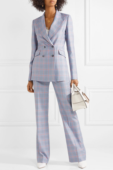 Gabriela Hearst Vesta checked wool and silk blend straight leg pants