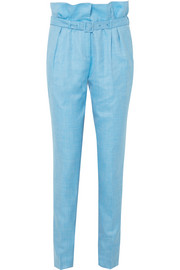 Beatrice wool, silk and linen-blend straight-leg pants