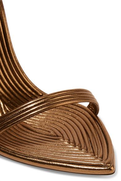 Saint Laurent Talitha Sandalen aus Metallic-Leder Bestbewertet GbAoz46mpU