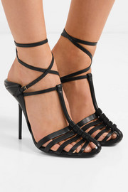 Saint Laurent Ines leather collapsible-heel sandals