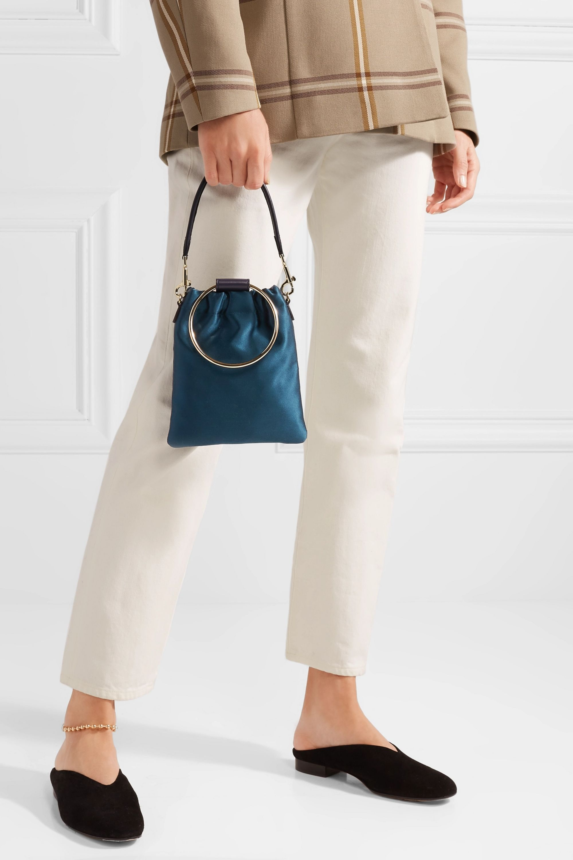 Theory Post small leather-trimmed satin pouch