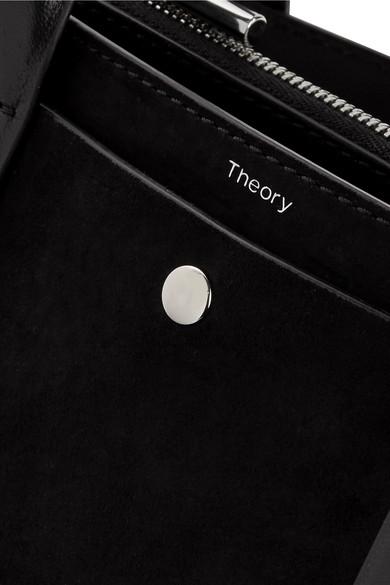 Theory West mini Tote aus Veloursleder mit Lederbesatz