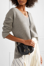 Hana mini suede and textured-leather shoulder bag