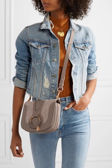 See by Chloé Hana mini Schultertasche aus Veloursleder und strukturiertem Leder