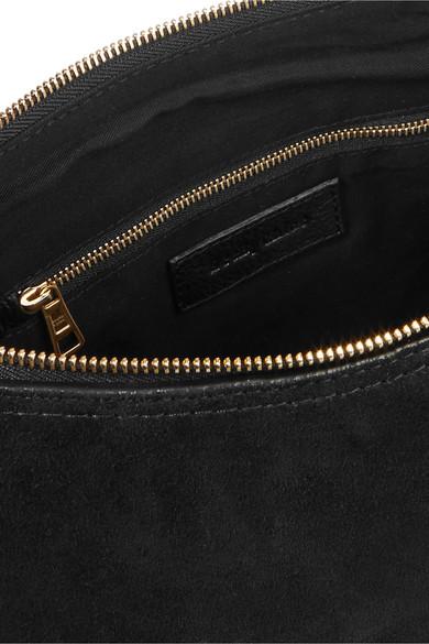 See by Chloé Joan mittelgroße Schultertasche aus strukturiertem Leder mit Velourslederbesatz
