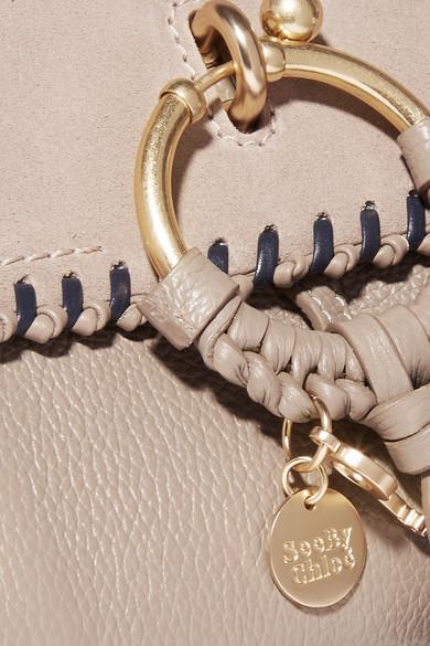 See by Chloé Joan kleine Schultertasche aus strukturiertem Leder und Veloursleder mit Überwendlichstich