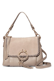Joan small whipstitched suede-paneled textured-leather shoulder bag
