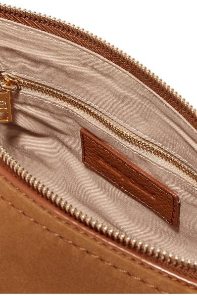 See by Chloé Joan kleine Schultertasche aus strukturiertem Leder mit Veloursledereinsätzen und Überwendlichstich