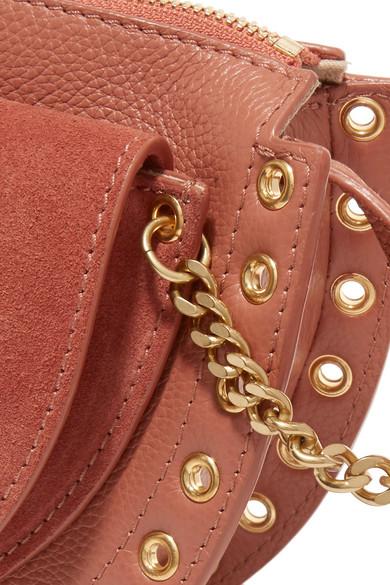 See by Chloé Kriss kleine Schultertasche aus strukturiertem Leder und Veloursleder mit Ösen
