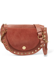 Kriss small eyelet-embellished textured-leather and suede shoulder bag
