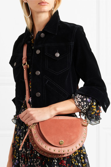 66d903b518 Kriss small eyelet-embellished textured-leather and suede shoulder bag
