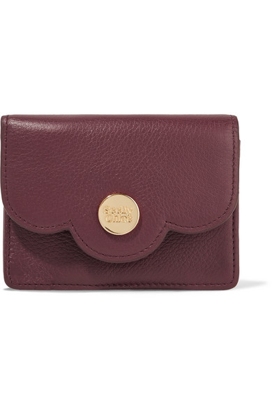 See by Chloé - Polina Scalloped Textured-leather Wallet - Claret