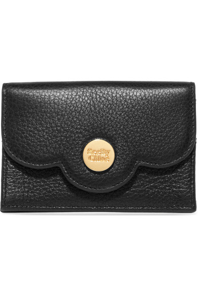 Polina Scalloped Textured Leather Cardholder by See By Chloé