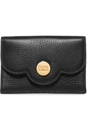 Polina scalloped textured-leather cardholder