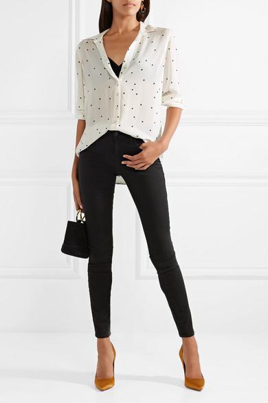 L'Agence Nina bedrucktes Hemd aus Seiden-Georgette
