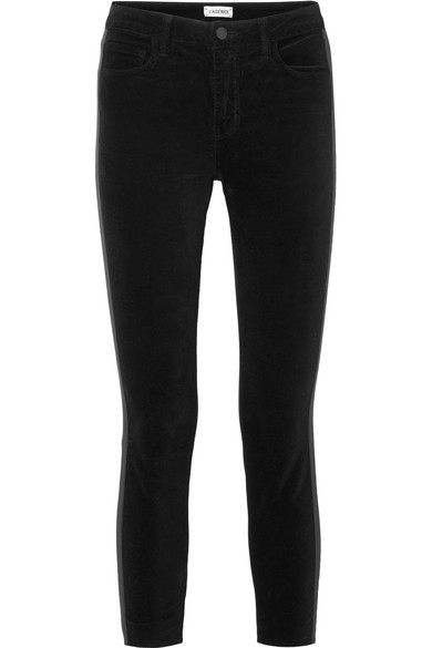 The Margot Satin Trimmed Stretch Velvet Skinny Pants by L'agence