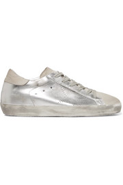 Golden Goose Deluxe Brand Superstar distressed metallic leather and suede sneakers