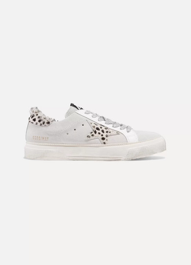 5dde449d00e96 Golden Goose. Superstar distressed leopard-print calf hair and suede  sneakers