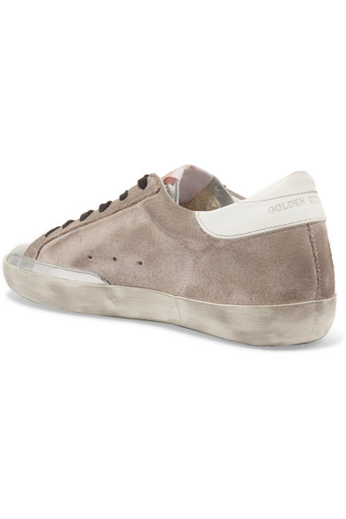 0065bf3bb Golden Goose Deluxe Brand. Superstar distressed glittered suede and leather  sneakers. £274.57. Zoom In