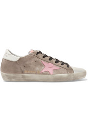 Superstar distressed glittered suede and leather sneakers