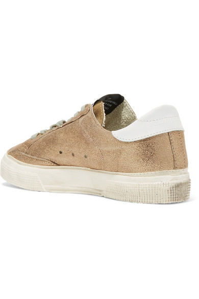 May Distressed Metallic Suede And Leather Sneakers - IT35 Golden Goose 1lp3w