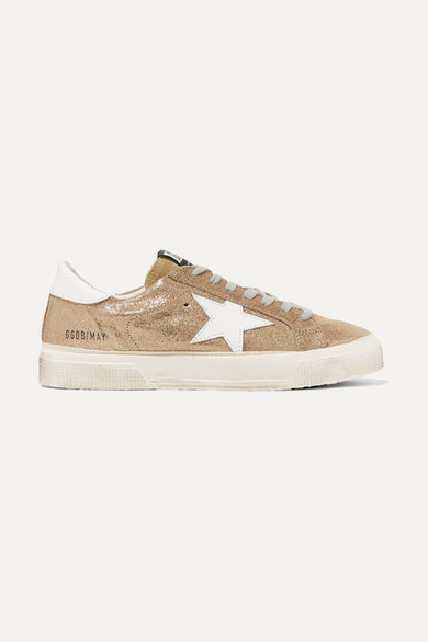 May Distressed Metallic Suede And Leather Sneakers - IT35 Golden Goose sfdlvKR3